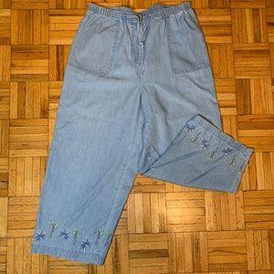 VINTAGE CROPPED Palm Tree Stretch Waist Jeans